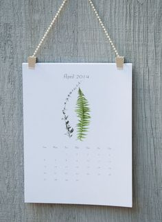 Botanical Calendar 2014 Eco Friendly by MyPaperKittens on Etsy, $14.50