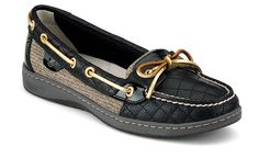 Wonder if these look good in person !! i want black sperrys! - black quilted angelfish sperry's