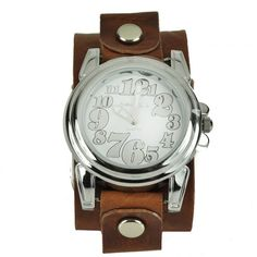 Set trends with this fashionable womens watch from Nemesis. With its brown leather cuff and contemporary Arabic numerals, this timepiece will add modern style to any outfit. The polished alloy case gives this watch added shine and durability.