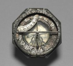 Combination sundial/pocket compass dating to 1700-1750. German. Silver. This is a beautiful example of craftsmanship.