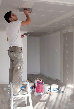 Gyproc voegen vullen met jointfiller - gyproc plafond
