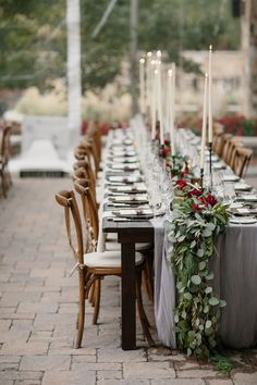 50 Gorgeous Wedding Tablescapes To Inspire That Special Day Fall Wedding Table Decor, Wedding Table Garland, Wedding Table Centerpieces, Wedding Table Settings, Wedding Decorations, Table Decorations, Wedding Tables, Wedding Ideas, Centerpiece Flowers