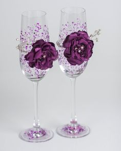Crystal purple wedding glasses with rhinestones and by DiAmoreDS