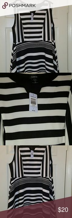 Black and White Striped Torrid Dress Torrid Skater Dress NWT. Can be worn to work, a night on the town, or company's holiday dinner. torrid Dresses Midi
