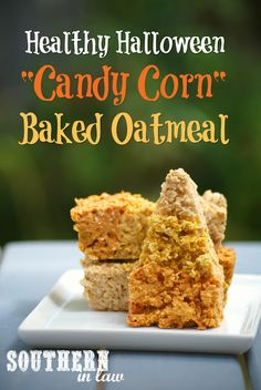 Healthy Halloween Recipes - Candy Corn Inspired Baked Oatmeal Breakfast Recipe. A festive dessert inspired healthy breakfast recipe that is low fat, gluten free, vegan, egg free, dairy free, freezer friendly, nut free, soy free, sugar free and a clean eating recipe. Healthy Oatmeal Recipes, Healthy Breakfast Recipes, Clean Eating Recipes, Healthy Breakfasts, Healthy Food, Vegan Gluten Free, Vegan Egg, Dairy Free, Baked Corn