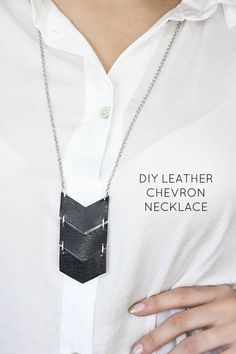 This is a nice DIY project, it's easy and looks cute. I love the geometric shape and that it's so light weight.  Materials: Thick leather Cardboard Ruler Pencils (regular and light colored) Leather hole punch Scissors Small metal chain Big metal chain...