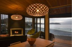 Another example of the bigger the better! David Trubridge Kina lights. Home by Stevens Lawson