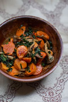 Roasted Persimmons with Mushrooms and Kale-sounds like an interesting combination. Not sure how I feel about persimmons, but it's worth a shot.