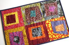 Colorful Mini Quilt in Vibrant Modern Patchwork, Bright and Funky Quilted Place Mat by MyBitOfWonder on Etsy https://www.etsy.com/listing/595366341/colorful-mini-quilt-in-vibrant-modern