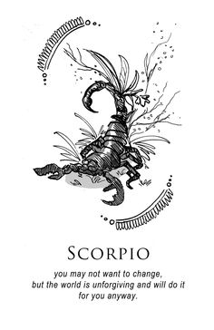 Scorpio - Shitty Horoscopes Book III: Petty Existential Crises by musterni - Tattoo Pins Scorpio Art, Astrology Scorpio, Scorpio Zodiac Facts, Scorpio Traits, Scorpio Moon, Zodiac Art, Scorpio Zodiac Tattoos, Astrology Signs, Elf Rogue