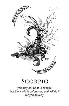 Scorpio - Shitty Horoscopes Book III: Petty Existential Crises by musterni - Tattoo Pins Scorpio Art, Astrology Scorpio, Scorpio Traits, Scorpio Zodiac Facts, Scorpio Moon, Zodiac Art, Zodiac Quotes, Scorpio Zodiac Tattoos, Astrology Signs