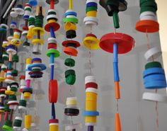 """More bottle tap hangings - from The Eric Carle Museum Studio Blog ("""",)"""