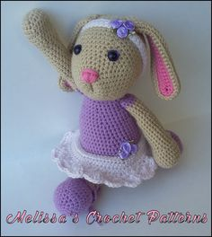 Blossom the Ballerina Bunny. Crochet Pattern is available on Ravelry, Craftsy, and Etsy.
