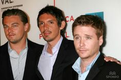 """Photo by: Joseph Frisenda/starmaxinc.com 2007. 4/26/07 Leonardo DiCaprio with Lukas Haas and Kevin Connolly at the premiere of """"The Gardener of Eden"""" at the Tribeca Film Festival. (NYC)"""