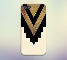 Gold Glitter x Black Chevron Cutout Design Case for iPhone and Samsung