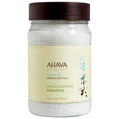 AHAVA DeadSea Salt Eucalyptus Bath Salt - 32 oz These 100% natural Dead Sea Salts infused with a calming blend of eucalyptus oils calm and relieve exhausted, sore muscles. These soothing Mineral Bath Salts relax tight muscles and help stiff joints leaving skin feeling vitalized, smooth and refreshingly moisturized.