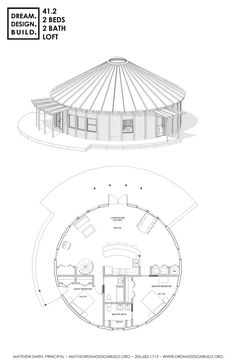 Yurt design for constructions by Matthew Smith. Round House Plans, Tiny House Plans, House Floor Plans, Silo House, Tiny House Cabin, Bungalows, Roof Design, House Design, The Plan