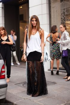killed it. Black lace skirt - oversized white singlet #BiancaBrandolini in Milan. #streetstyle