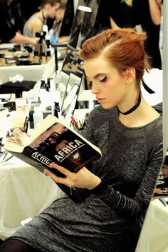 Johansen (Finland, a red-headed fashion model, has walked the catwalk for Amanda Wakeley and Mulberry, among. Couture Fashion, Runway Fashion, Fashion Models, Fashion Show, Celebrities Reading, Books To Read For Women, Models Backstage, Vogue Us, Woman Reading