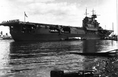 Aircraft carrier USS Enterprise at Ford Island in Pearl Harbor, Hawaii, in late May 1942, being readied for the Battle of Midway.