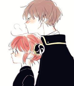 Omg how kawaii is this Anime Couple Kiss, Manga Couple, Romantic Anime Couples, Cute Anime Couples, Girls Anime, Anime Art Girl, Okikagu Doujinshi, Chibi, Gintama