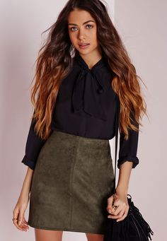Khaki is one of THE hottest colours of autumn/winter, in faux suede, this mini skirt is the shizzle. In totally on trend A line style with side zip fastening and super soft finish, pair this baby with a black polo neck and knee high boots f...