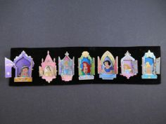 Disney Pins Set 7 Princess Hinged Windows Doors Ariel Belle Aurora Jasmine Tink | eBay