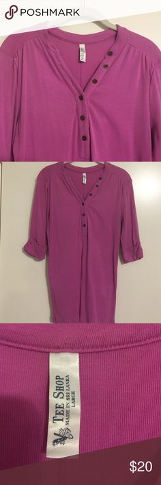 VS 3/4 sleeve Henley Tshirt👚 Victoria's Secret 3/4 sleeve Henley Tshirt - bright pink Victoria's Secret Tops Tees - Long Sleeve