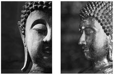 2 Piece Buddha Faces Photographic Print Set