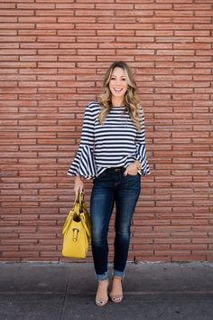 Stripe Bell Sleeve Top with skinny jeans and yellow bag. Honey We're Home  #outfitsLately #bellsleevetop #stripedtop #skinnyjeans #yellowbag