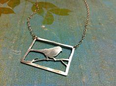 Sterling Silver Bird Necklace Bird Silhouette Bird in by Arrok, $70.00