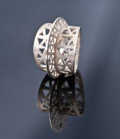 Statement Sterling Silver Triangle filigree Ring & Ruby ALEX DE HARO-ES