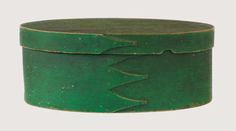 Shaker Oval Box  ...Maple and pine, original light apple green painted finish, four fingers, small copper tacks,.
