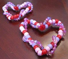 Beaded Valentines Heart Ornaments