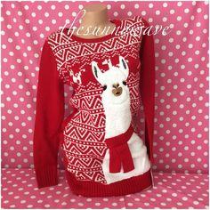 Llama Ugly Holiday Christmas Hanukkah Knit Tunic Sweater Tacky Xmas Funny Gift M #LoveAlways #ScoopNeck #HanukkahChristmasHoliday