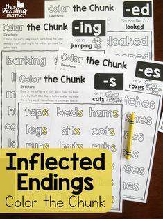Inflected Endings Pages - Color the Chunk - This Reading Mama
