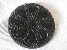 Large ANTIQUE Petal Flower Black Glass BUTTON by abandc on Etsy