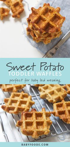 These mini sweet potato waffles are perfect for baby's first finger foods - easy to grasp, easy to gnaw on and easy for you to enjoy right along with them! They're a delicious and healthy breakfast, snack, and also great for school lunches! #breakfast #healthyrecipes #babyledweaning #fingerfoods #toddlers