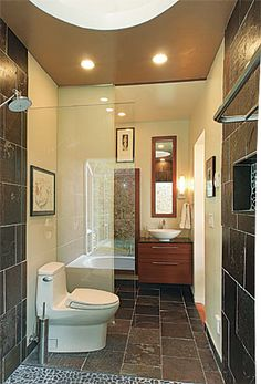 Wide-Open Baths for Small Spaces - Fine Homebuilding Article Roll In Showers, Open Showers, Small Showers, Fine Home Building, Building A House, Attic Spaces, Small Spaces, Open Baths, Master Bedroom Bathroom