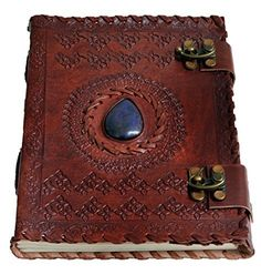 Blue stone two clasp Vintage Journal Leather Notebook Diary By Jaald. Key Features Dimensions in Inches: 8(H) * 6(W) * 2(D) 200 pages (100 sheets) of white unlined paper A Fair Trade Product Produc...