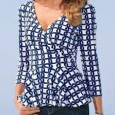 Boston Proper Geo Link Peplum Top A best-selling peplum silhouette with a double-v neckline and faux wrap front. • Polyester/spandex. • Imported. • Machine wash or dry clean. • Sensuously shaped. • S(6-8) , M (10-12)  • Pure white/navy. Boston Proper Tops Blouses