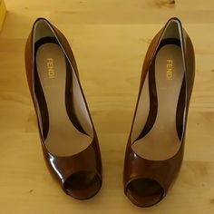 Open toe pumps Brown Fendi pumps FENDI Shoes Platforms