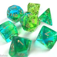 Chessex Dice Poly - Gemini Translucent Green Teal w/ Gold - Set of 7 - 26438 Bag