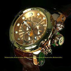 New Invicta 13883 Men Reserve Venom Swiss Quartz Chronograph Leather Strap Watch