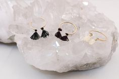 These rings are fun and look great stacked with one another or with other rings.   Gold Fill, Black fringe, Brown fringe, Cream fringe  Due to the unique nature of handmade products, this product may vary from photo here. Please email: jazmin@driftwoodmaui.com for photo of actual item.