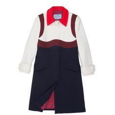 Prada Wool Coat found on Polyvore featuring outerwear, coats, jackets, woolen coat, oversized coat, prada, oversized wool coat and color block coat