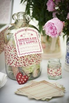 Upcycling: 12 Vintage Wedding Décor Ideas | Confetti Daydreams - From Old Bottles To Vintage Vases: Message in a Bottle ♥  ♥  ♥ LIKE US ON FB: www.facebook.com/confettidaydreams  ♥  ♥  ♥ #Vintage #Wedding #Décor