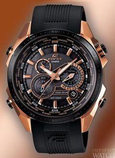2d2b9b6a982 Edifice Black   Rose Gold Relógios Masculinos