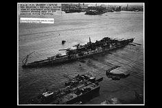 USS Oklahoma undergoes the righting operation, April 1943 : WarshipPorn Uss Oklahoma, Oklahoma Memorial, Remember Pearl Harbor, Uss Arizona, Colorized Photos, Us History, History Facts, Navy Ships