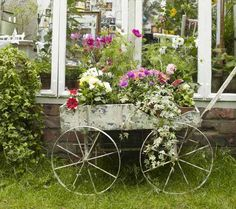 Antiquated wagon repurposed as a planter